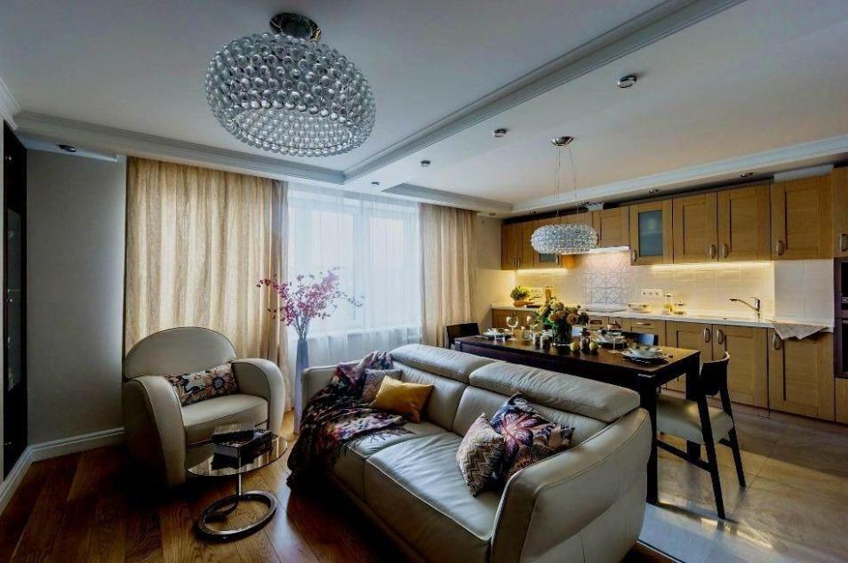 Зонирование пространства кухни гостиной в квартире студии с помощью мебели