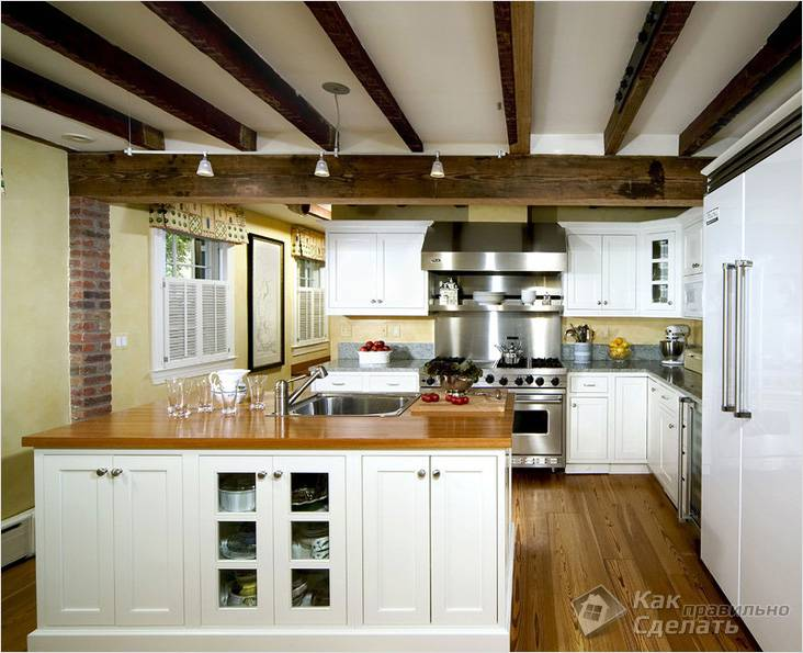 Niezwykły Sufit Belki W Kuchni Drewniane Belki Stropowe