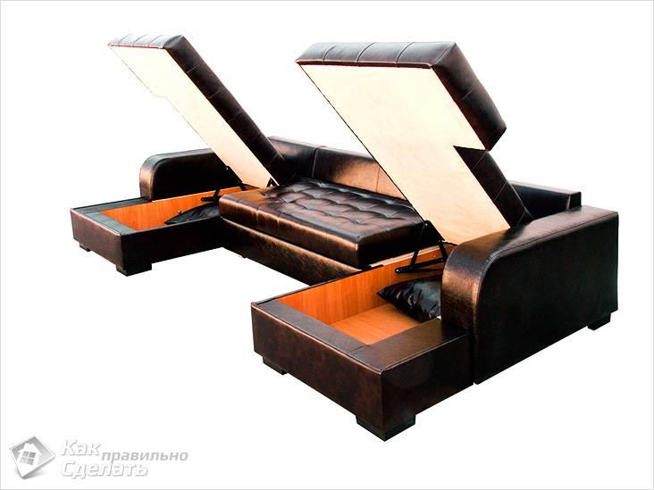 Sofa dolphin na may drawers.