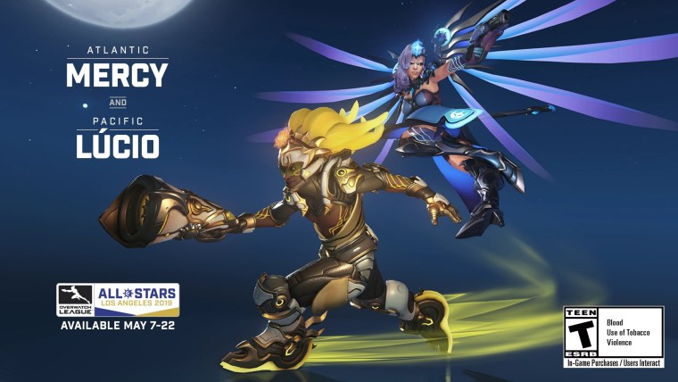 The Overwatch League exclusive 2019 All-Star legendary skins for support heroes Mercy and Lúcio are now available.jpg
