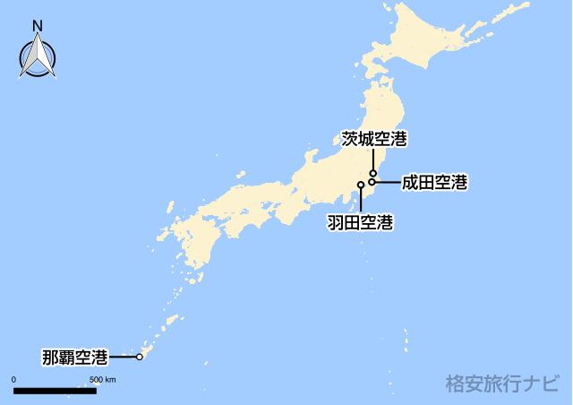 東京〜那覇の地図