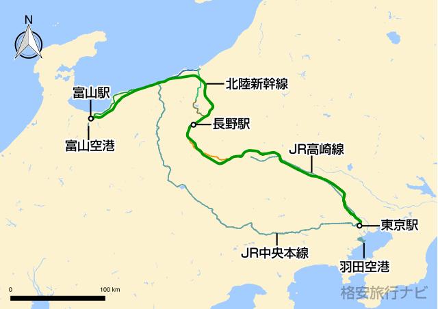 東京〜富山の地図