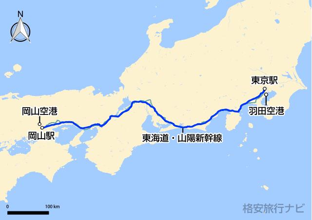 東京〜岡山の地図