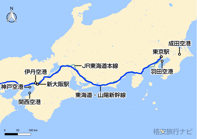 東京〜大阪の地図