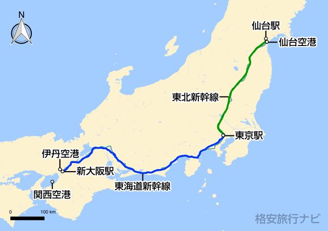 大阪〜仙台の地図