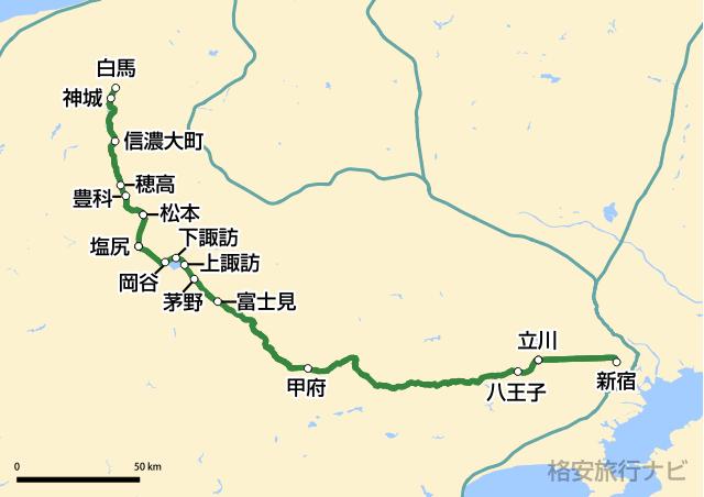 ムーンライト信州81号路線図