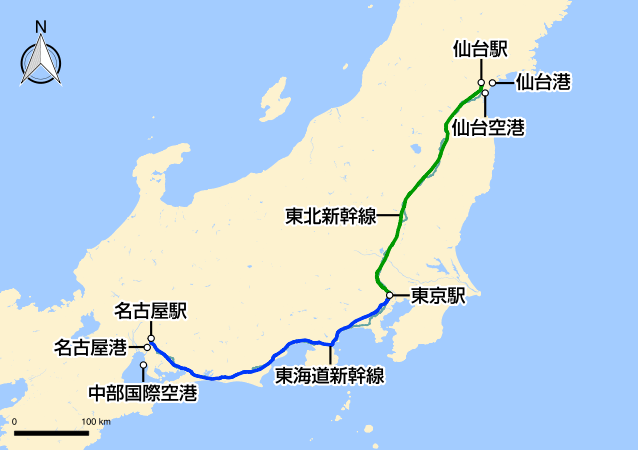 名古屋〜仙台の地図