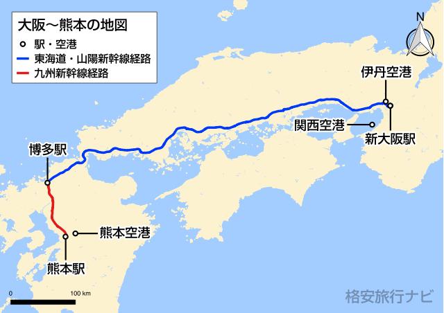 大阪〜熊本の地図
