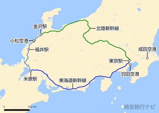 東京〜福井の地図