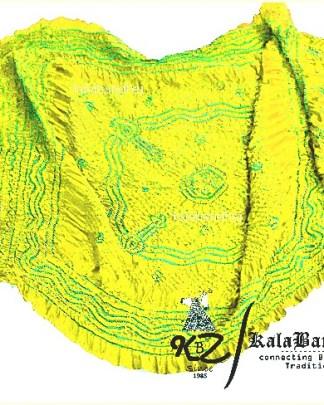Parrot Bandhani Lemon GajiSilk Dupatta