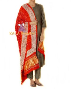 Bright Red Shibori Bandhani Dupatta