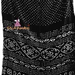 Black Gaji Silk Bandhani Saree
