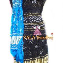 Black GajiSilk Bandhani DressMaterial - Sky
