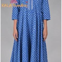 Blue Bandhani Long Kurta