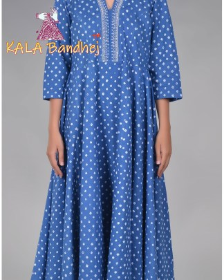 Blue Bandhani Long Kurta