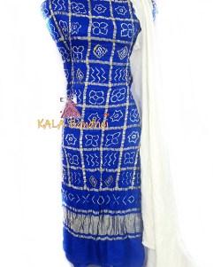 Blue - White GajiSilk Gharchola DressMaterial