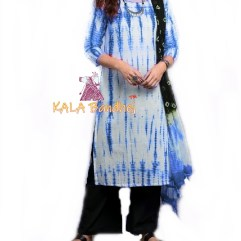 Blue - Shibori Dress Material