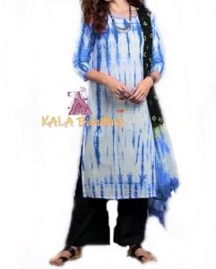 Blue - Shibori Dress Material