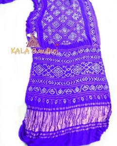 BlueViolate GajiSilk BavanBaug Bandhani Saree