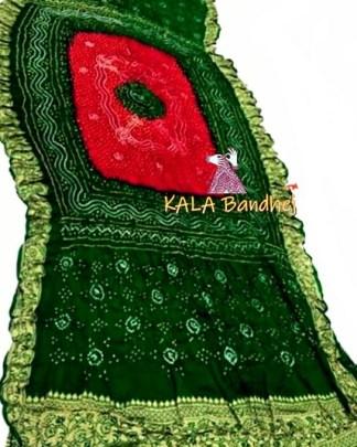 BottleGreen-Red GajiSilk Bandhani Naksi Boder Dupatta
