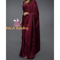 Burgundy Marron Gaji Silk Plain Saree