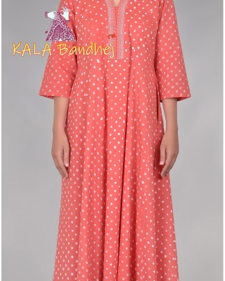 Bandhani Long Pleated Kurta