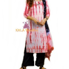 Coral Red - Shibori Dress Material