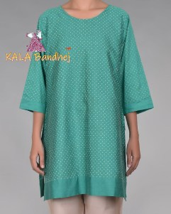Green Flock Short Kurta