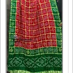 Green-Red Gajisilk Bandhani Gharchola Dupatta
