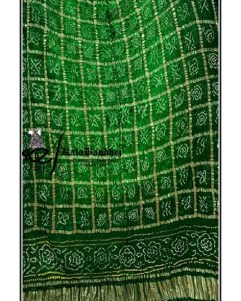 Shaded-Green Gajisilk Bandhani Gharchola Dupatta