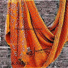 Orange Gaji Silk Saree