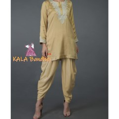 Beige Gold Kurta and Dhoti Pants Suit