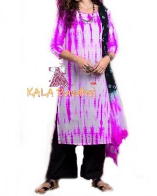Magenta - Shibori Dress Material