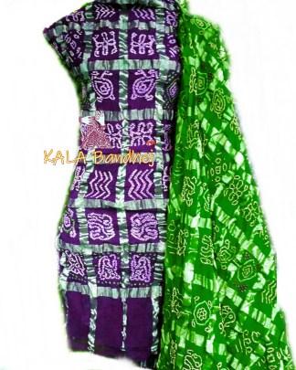 Magenta - Parrot Cotton Gharchola DressMaterial