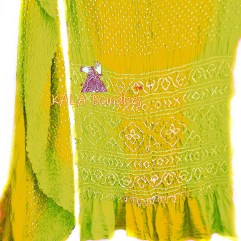 Mehndi-Gold GajiSilk Shaded Bandhani Saree