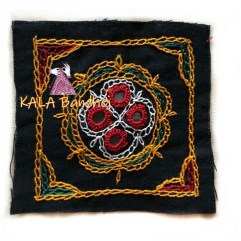 Black #3 Square Kutchi Work Patch