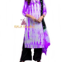 Purple - Shibori Dress Material