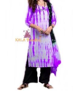 Purple - Shibori Dress Material