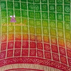 Red To Green GajiSilk Gharchola Bandhani Dupatta