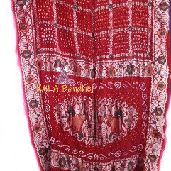 Red Embroidery Bandhani Saree