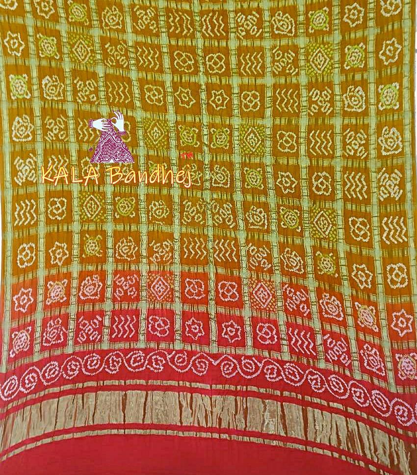 Red-Khaki GajiSilk Gharchola Bandhani Dupatta