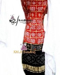 Red-Black - White GajiSilk Gharchola DressMaterial
