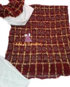BloodRed - White Cotton Gharchola DressMaterial