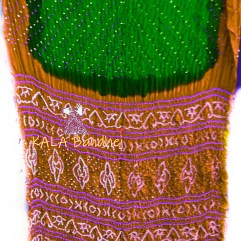Rust-Green Gaji Silk Bandhani Saree