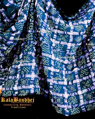 Blue Cotton Gharchola Saree Micro