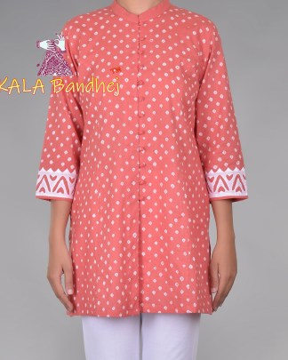 Pink Bandhani Applique Sleeves Kurta