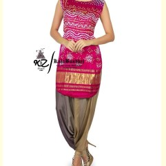 Deep-Pink Gaji Silk Patiala Suit