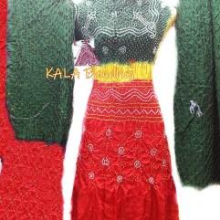 Green - Yellow - Red GajiSilk Bandhani DressMaterial