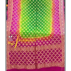 Pure Crape Silk Bandhani Dupatta Pink-Parrot