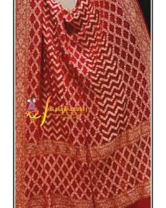Pure Crape Silk Bandhani Dupatta Blood-Red
